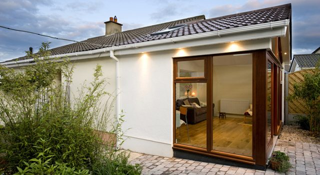 Modern House Extension. Glass Panel Windows